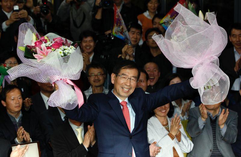 ▲64歲的朴元淳原本是人權律師,2011年當選首爾市長。(圖/美聯社/達志影像)