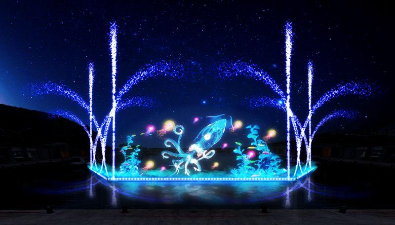 ▲深澳漁港11日起至24日每天晚上7點至9點,每半小時會有全國首創的漁港奇幻光雕水舞秀。(圖/新北市漁管處提供)