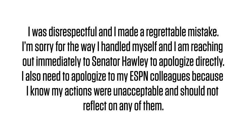 《ESPN》知名記者「沃神」Adrian Wojnarowski向共和黨參議員Josh Hawley道歉