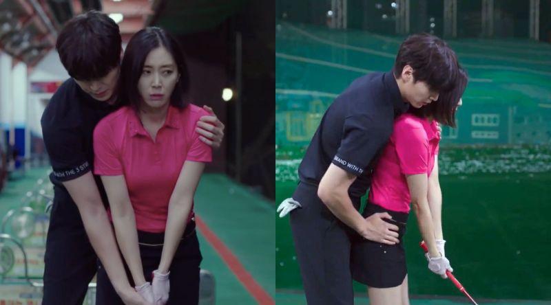 ▲劇中,宋玧妸(右)跟高爾夫球教練關係不尋常。(圖/愛奇藝台灣站)