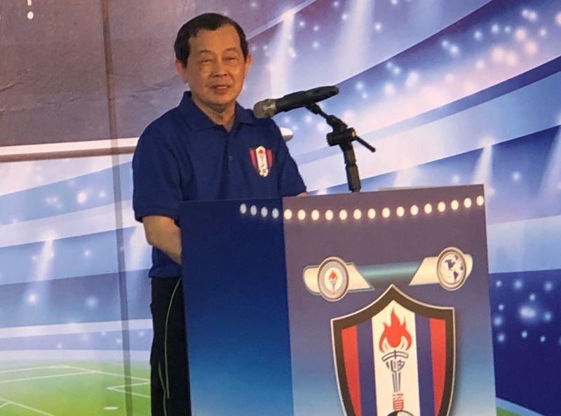 ▲台灣中油足球隊成立,由台灣中油公司董事長歐嘉瑞主持。(圖/記者黃守作攝,2020.07.13)