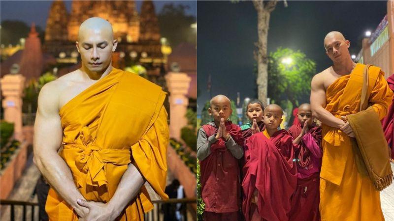▲身穿和尚袈裟的泰國壯漢因為一系列的照片而爆紅。(圖/翻攝自IG)