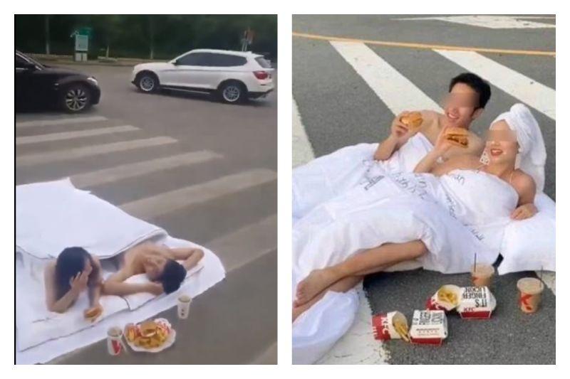 大膽新人馬路上「滾床單」拍婚紗照 眾看傻:真的超危險