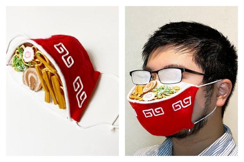 ▲日本創意「拉麵口罩」,巧妙把戴口罩容易讓眼鏡起霧的困擾變成笑點。(圖/翻攝自@iine_piroshiki的推特)