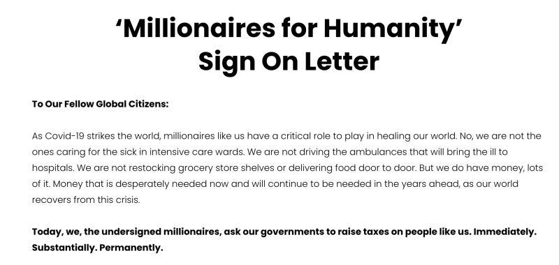 ▲全球富豪發聯名信呼籲政府加課「富豪稅」對抗疫情。(圖/翻攝自「MillionairesForHumanity」網站)