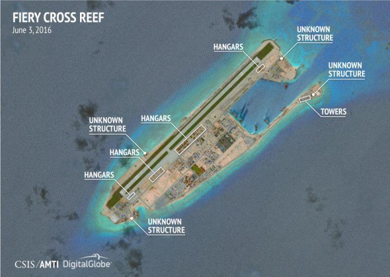 ▲中國在南沙群島興建軍事設施,其中至少