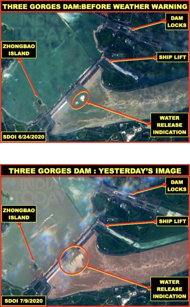 ▲有印度媒體聲稱,三峽大壩的真實洩洪時間及狀況比中國官方所說的還嚴重。(圖/翻攝自 Vinayak Bhat 推特)