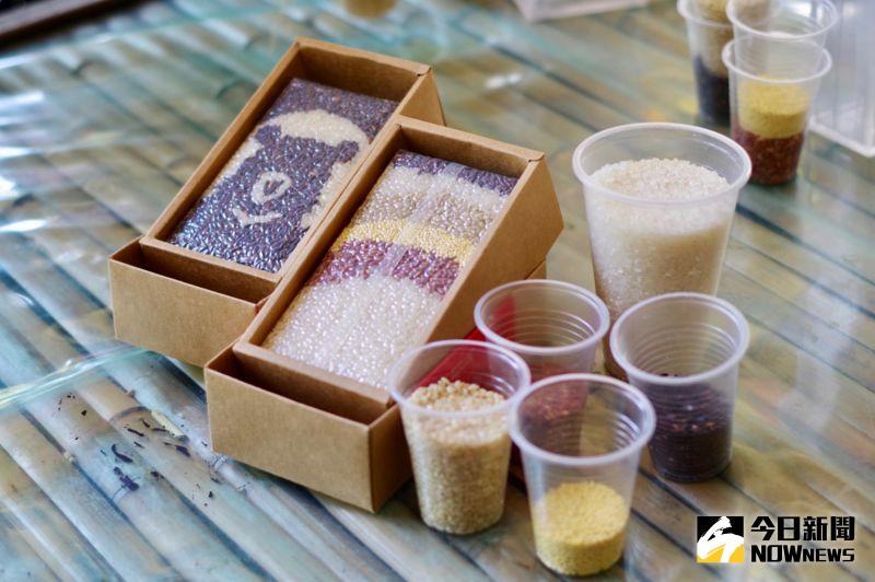 ▲為了推廣部落農產,當地農民利用紅米、紫糯米、小米、白米、糙米,將不同顏色的稻米彩繪出美麗的圖案。(圖/記者陳致宇攝)