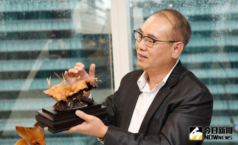 ▲台灣彩券公司總經理蔡國基的台灣檜木收藏品之一螞蟻大師張豐昌的作品。(圖/記者林調遜攝)