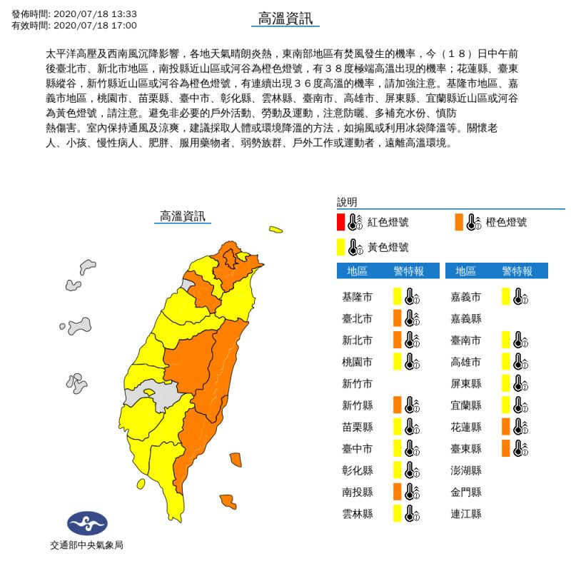 ▲中央氣象局今針對全台17縣市發布高溫資訊。(圖/中央氣象局提供)