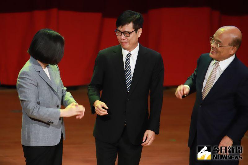 ▲行政院長蘇貞昌(右)表示為了將全力協助陳其邁(中)。(圖/記者葉政勳攝 , 2020.07.19)