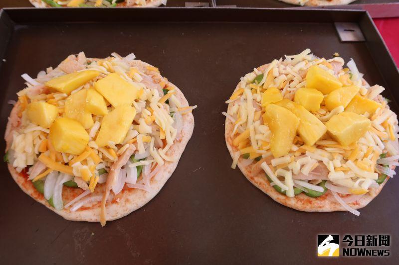 ▲芒果披薩,濃濃的芒果清香,吃過就不會忘記的美味。(圖/記者陳雅芳攝,2020.07.19)
