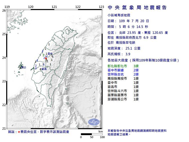 ▲今( 20 )日凌晨 5 時 06 分發生規模 3.9 有感地震。(圖/氣象局)