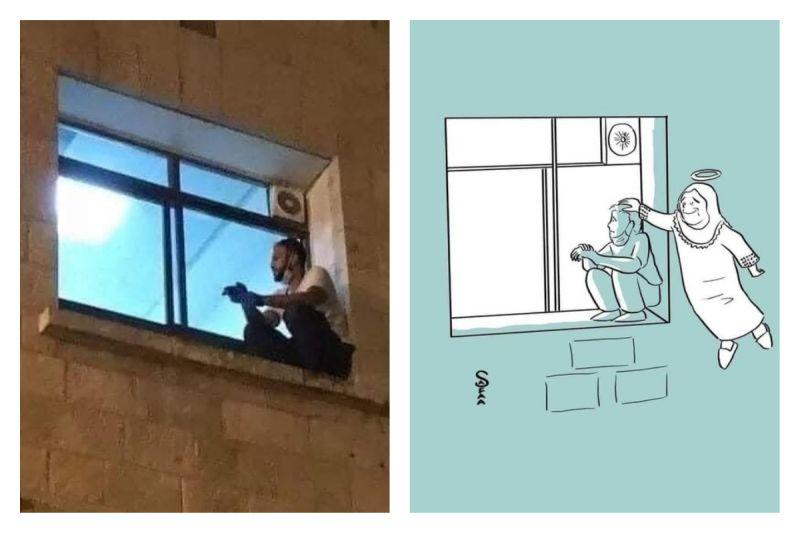 ▲巴勒斯坦一位男子,每天爬牆坐在醫院窗外,看望確診新冠肺炎的高齡母親、為她打氣。但男子母親仍在日前不幸過世,讓人心酸。(圖/翻攝自@mhdksafa的推特)