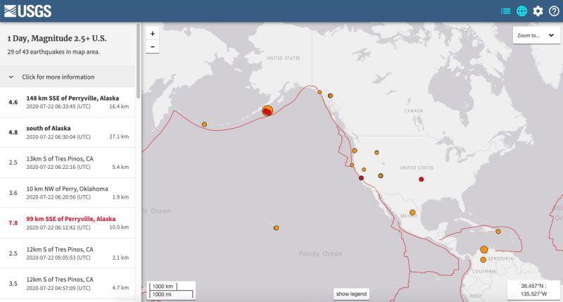 ▲美國地質調查局7/22下午偵測到的地震。(圖/翻攝自