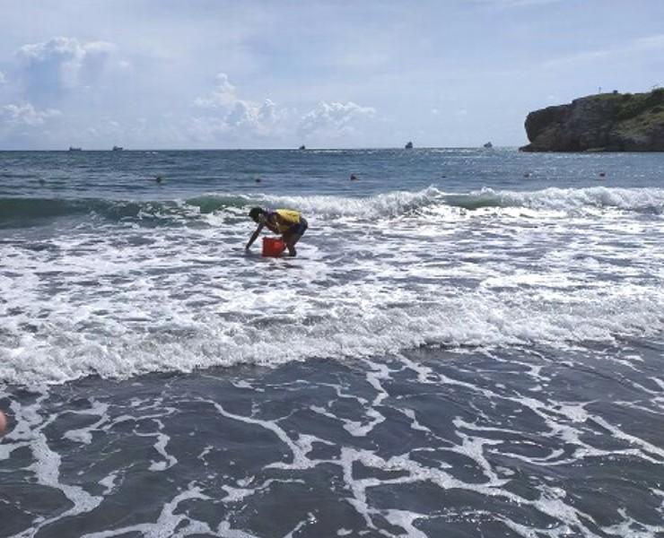 ▲海洋委員會海洋保育署人員在高雄市旗津海域採樣監測水質的情形。(圖/海洋保育署提供)