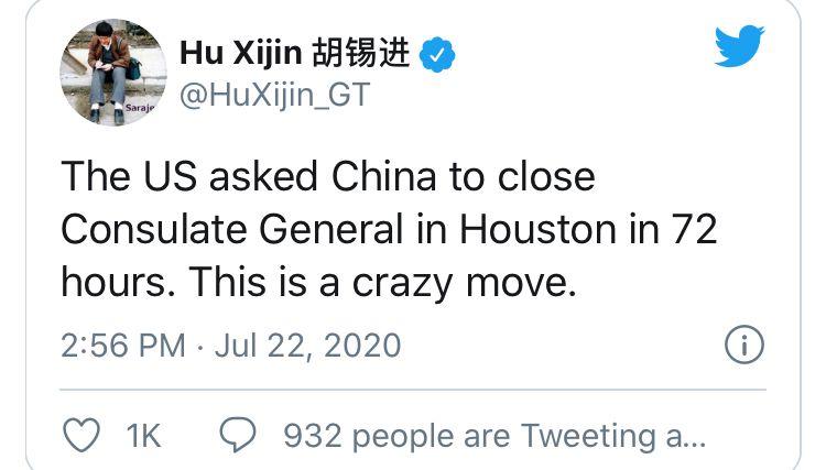 ▲《環球時報》總編輯胡錫進推特發文,稱美方要求中國「72小時內關閉駐休士頓領事館」。(圖/翻攝胡錫進推特)