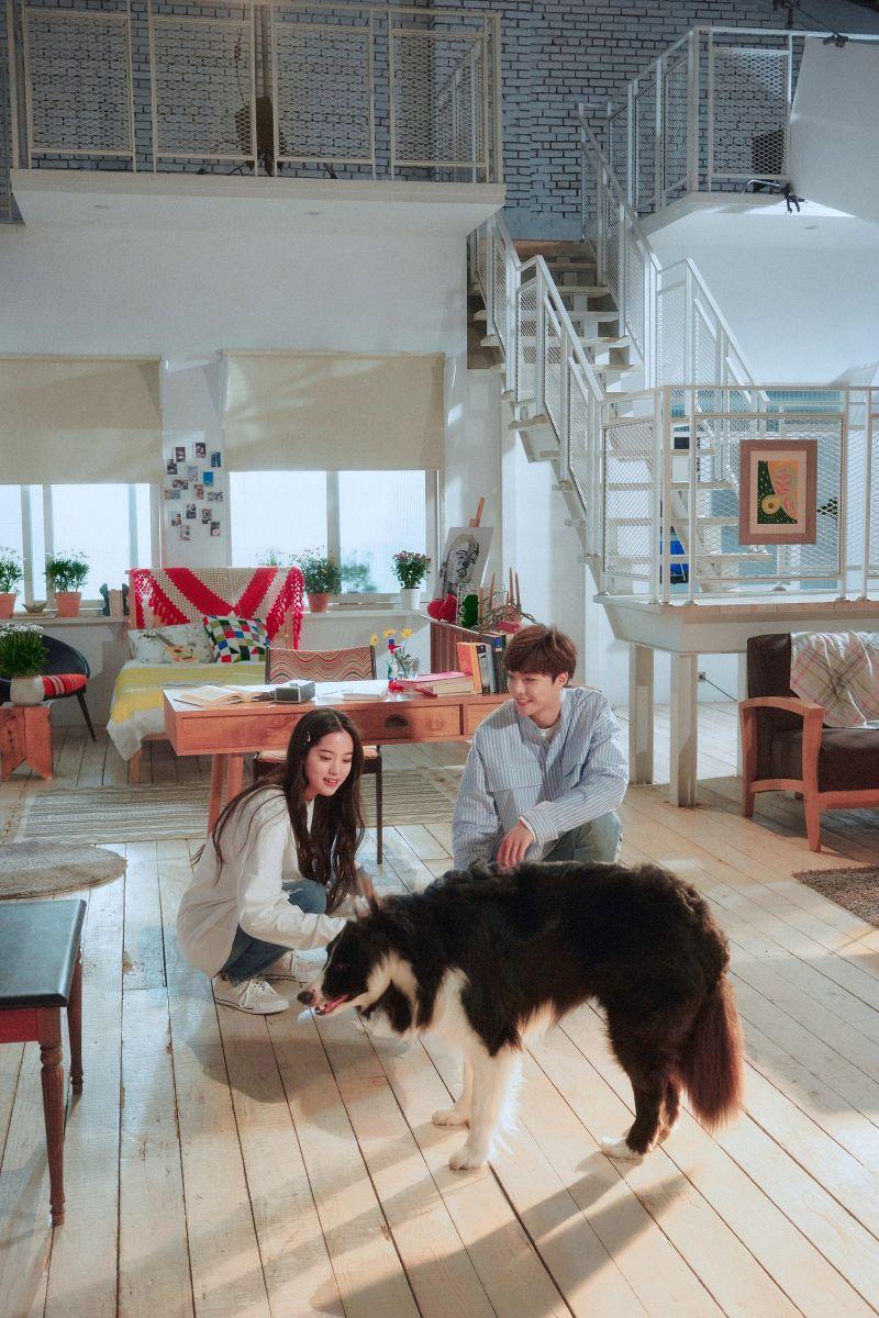 ▲陳立農(右)、歐陽娜娜在MV中甜蜜互動。(圖/索尼音樂提供)