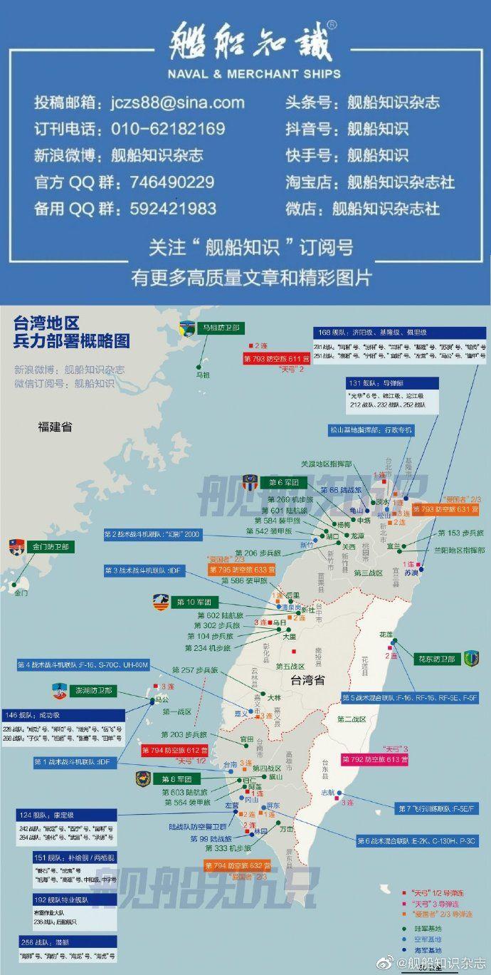 ▲陸媒《艦船知識》貼出「台灣地區兵力部署」引起討論。(圖/翻攝自《艦船知識》微博)