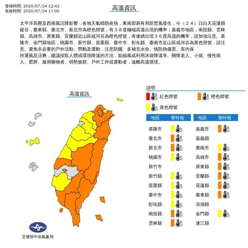 ▲中央氣象局發布高溫資訊。(圖/中央氣象局提供)