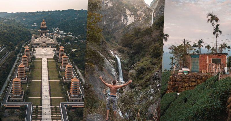 ▲拼圖,由左到右分別在佛光山、太魯閣國家公園、台灣中部某個茶園。(圖|Pierre提供)