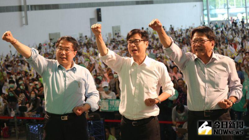 台南市長黃偉哲、高雄陳其邁、屏東現場潘孟安組成「南方首長會做事連線」。(圖/記者鄭婷襄攝,2020.07.25)