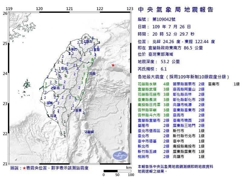 ▲氣象局發布今(26)晚間8點52的地震調查報告。(圖/擷取自中央氣象局)