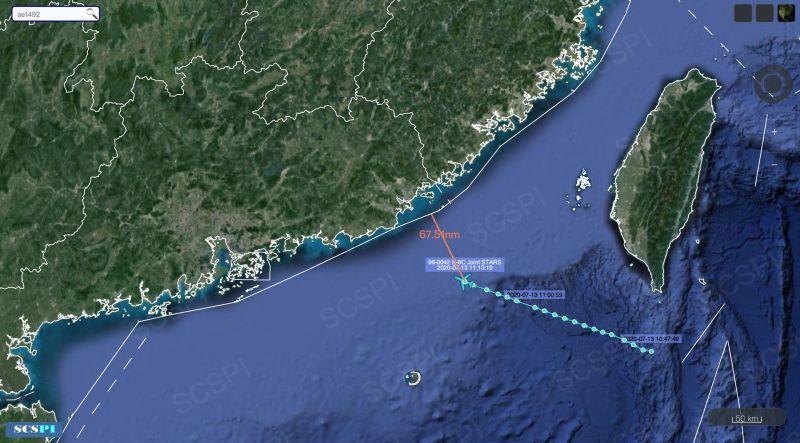 ▲7月13日,美軍E-8C「聯合之星」指揮機從飛越巴士海峽,逼近廣東沿海。(圖/SCS推特)