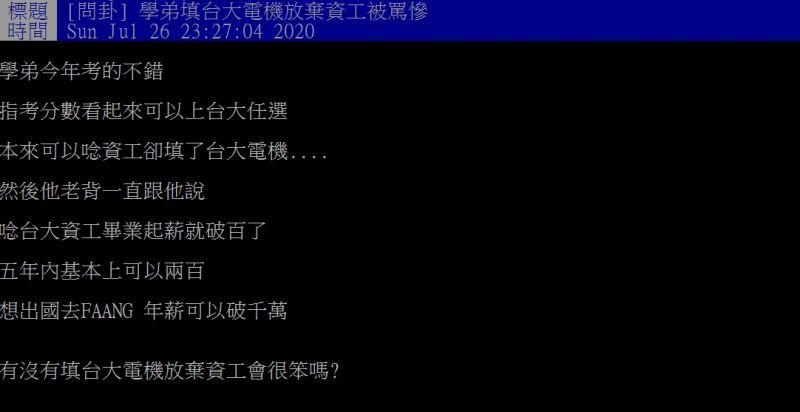 ▲網友指出,自己的學弟因為填了台大電機,而被家人臭罵一翻。(圖/翻攝