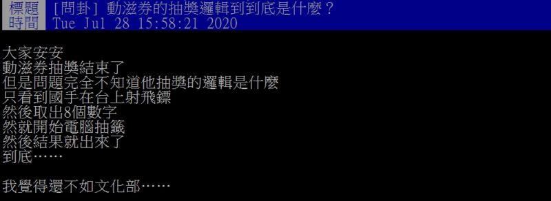 ▲網友針對動滋券的開獎過程,提出質疑。(圖/翻攝
