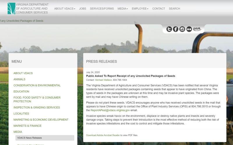 ▲維吉尼亞州農業部7/24發表聲明,呼籲民眾注意不明種子郵件。(圖/翻攝自維吉尼亞州農業部)
