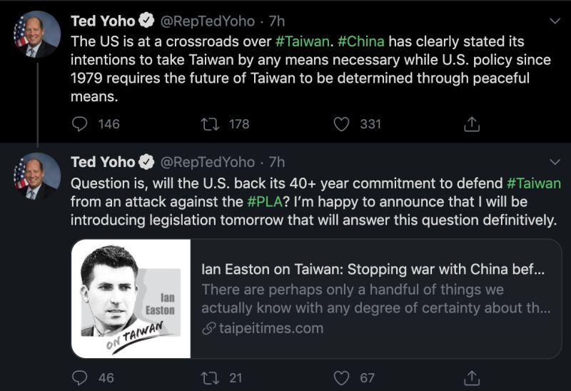 ▲美國聯邦眾議員約霍在推特預告將提出「防止台灣遭侵略法案」(