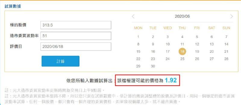 ▲利用元大權證「隱波不降大公開」專頁提供的試算器,就能得出該檔權證的合理價格。(圖/資料照片)