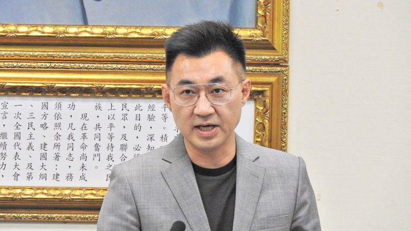 國民黨主席江啟臣29日在中常會上公開呼籲蔡英文總統「回到中華民國」,不要淪為美中對撞下的棄子。( 圖 / 記者陳弘志攝 )