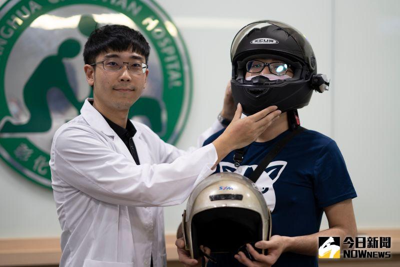 ▲林楠瑾醫師表示,全罩式安全帽確實可以有效防護顏面骨骨折。(圖/記者陳雅芳攝,2020.07.29)