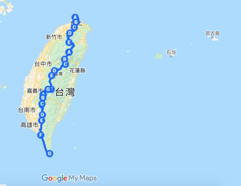 ▲有網友分享台灣「切西瓜」路線,直貫南北挑戰另類環島。(圖/翻攝自Google Map)