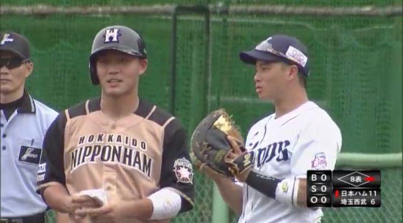 ▲日職火腿隊王柏融(左)與吳念庭。(圖/取自GAORA Sports)