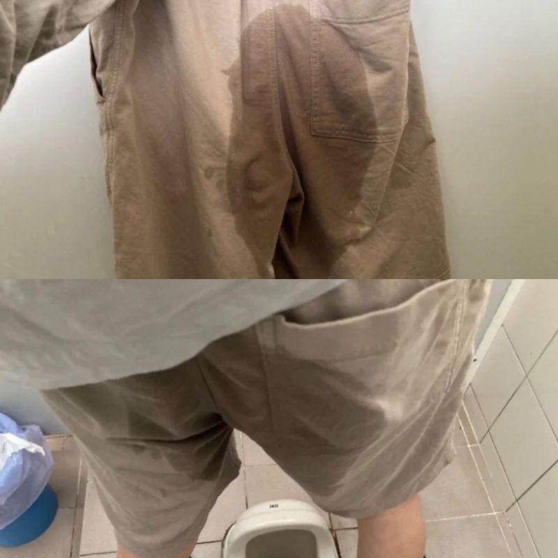▲男網友尿濕褲子時,將「慘況」拍下。(圖/翻攝自《Dcard》)
