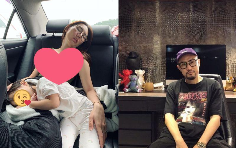 ▲熱狗(右)曝女友(左)熟睡照。(圖/熱狗IG)