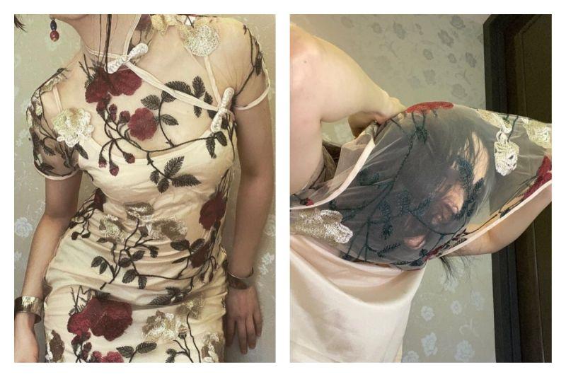 ▲日本一位正妹作家因為貼身旗袍脫不下來意外在網路爆紅。(圖/翻攝自@kirisawatae的推特)