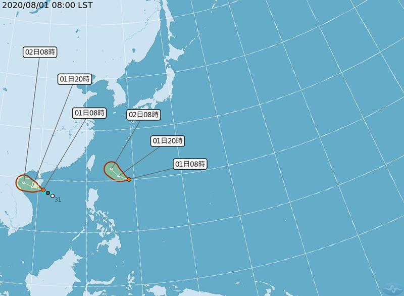 ▲中央氣象局指出,熱帶性低氣壓TD05可能發展成第4號颱風「哈格比」,預計明天下半天到後天離台灣最近。(圖/氣象局)