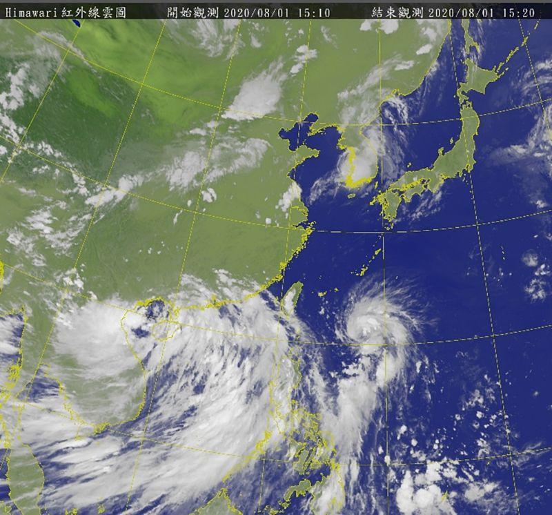 ▲中央氣象局指出原位於中西沙島海面的熱帶性低氣壓,於今日14時發展為輕度颱風,編號第3號颱風「辛樂克」。(圖/氣象局)