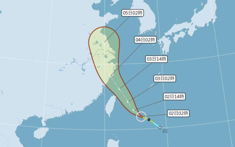 ▲輕颱哈格比持續接近台灣,中央氣象局今(2)日清晨5時已發佈海上颱風警報。(圖/翻攝自中央氣象局)