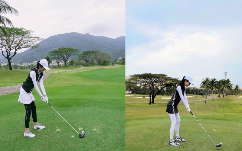 ▲Luna(右)和網美一西(左)近乎一樣的高爾夫球日常。(圖/翻攝IG/