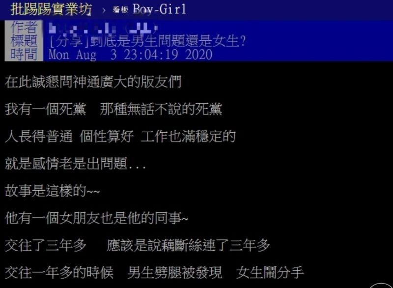 ▲網友因死黨的感情問題,在PTT發文詢問。(圖/翻攝自PTT)