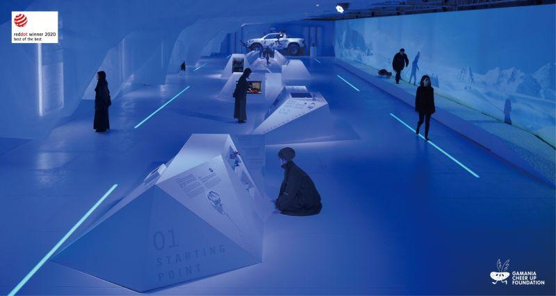 ▲「去你的南極-冒險的地平線」特展在亞熱帶的國度打造出⼀段冰雪岩交織的⽴體冒險旅程。(圖/橘子關懷基金會提供)