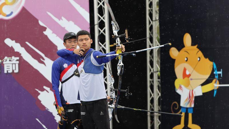 ▲模擬東京奧運對抗賽,19歲射箭小將湯智鈞2個月暴瘦9公斤。(圖/國訓中心提供)