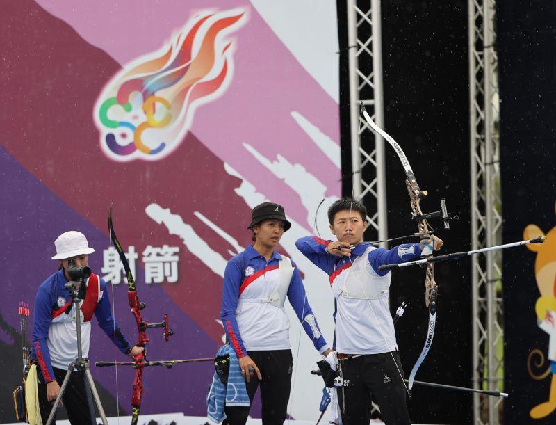 ▲模擬東京奧運對抗賽,射箭「雷母」雷千瑩。(圖/國訓中心提供)