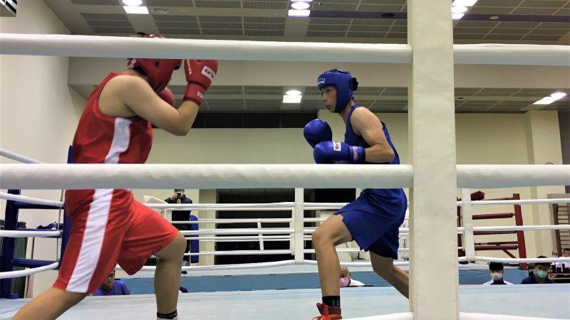 ▲拳擊亞錦賽國內選拔賽,已拿下東京奧運門票的女將林郁婷(藍衣)改戰64公斤級仍輕鬆擊敗對手拿下資格。(圖/鍾東穎攝 ,2020.08.04)