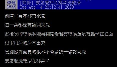 ▲網友在PTT提問「花椰菜怎麼洗乾淨?」菸起討論。(圖/翻攝自PTT)